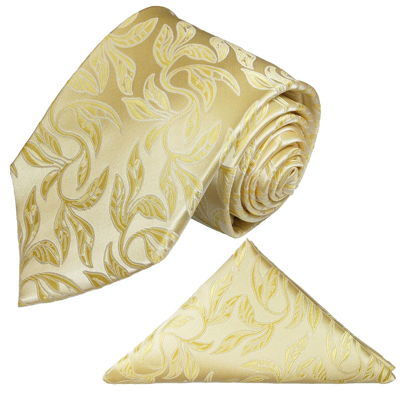 Krawatten Set 2tlg Krawatte + Einstecktuch von Paul Malone creme gold florale Hochzeitskrawatte Bräutigam Tie v15