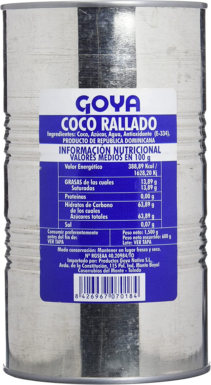 Goya Coco Rallado - 4 Paquetes de 1500 gr - Total: 6000 gr ...
