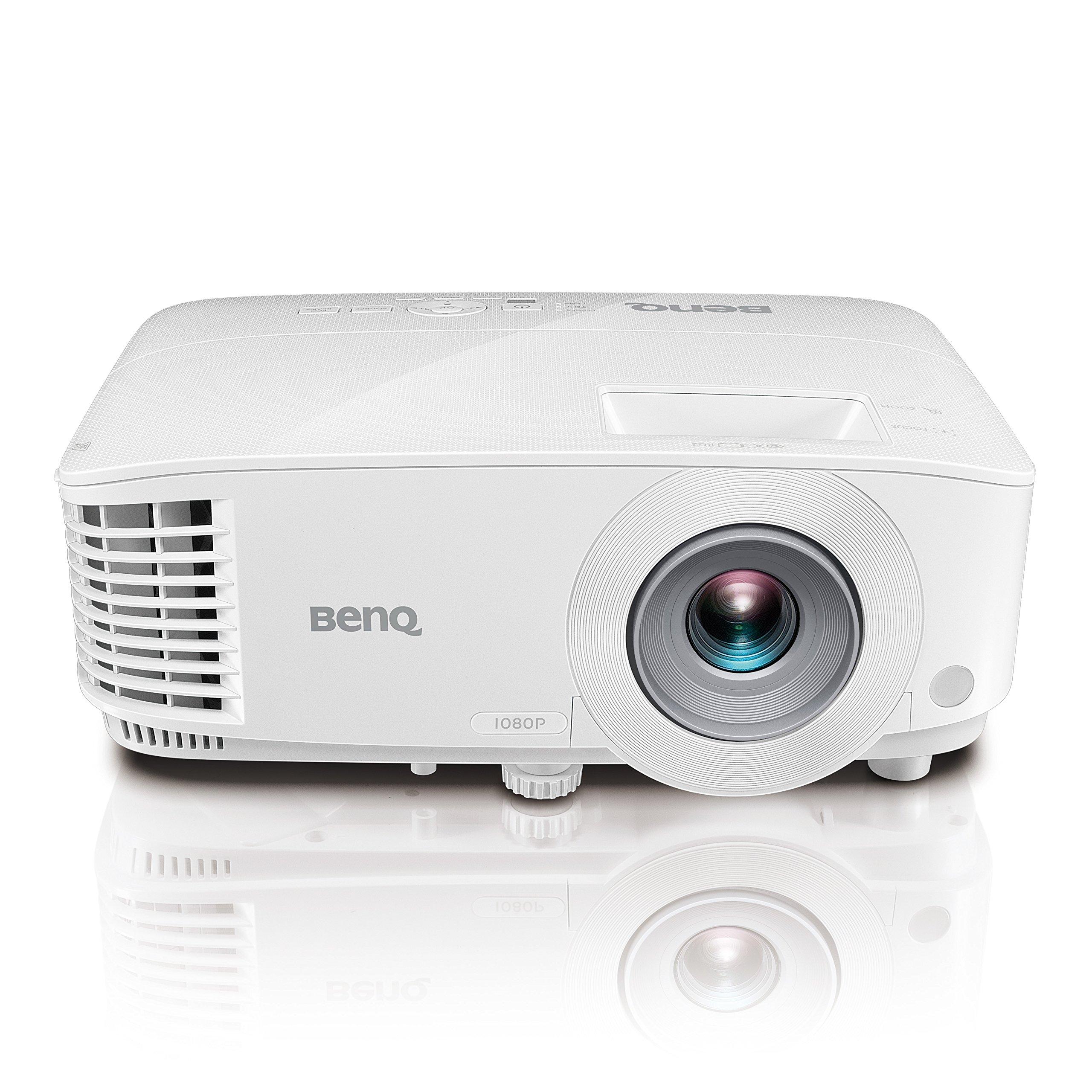 """BenQ 1080p DLP Business Projector (MH733), 4000 Lumens, Full HD 1920x1080, Wireless, Network, 3D, HDMI, USB Reader, 10W Speaker, LAN Control, 100""""@8.2ft, 1.3x Zoom"""
