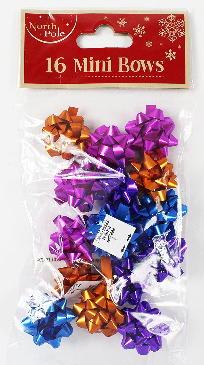 20 Pack Mini Bows Glitter Bows Ribbon Wrap Small Bows-Purple Card and Party Store