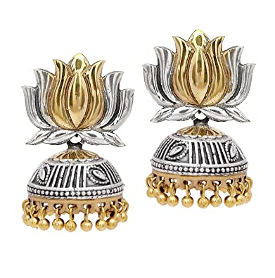 d7efe3ee6 Buy Two Tone Silver and Gold Plated Oxidised Kamal Jhumki Christmas Earrings  For Girls And Women | Lotus Kamal In 2 Tone | Christmas Gifts Online at Low  ...