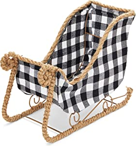 Okuna Outpost Small Santa Claus Sleigh for Christmas, Black and White Plaid (11 x 5 x 7.8 in)