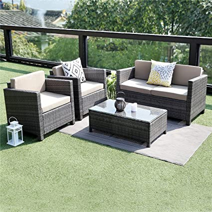 Wisteria Lane 5 Piece Outdoor Furniture Set Patio Sectional Sofa All Weather Wicker Chair Loveseat Glass Table Conversation Set Grey