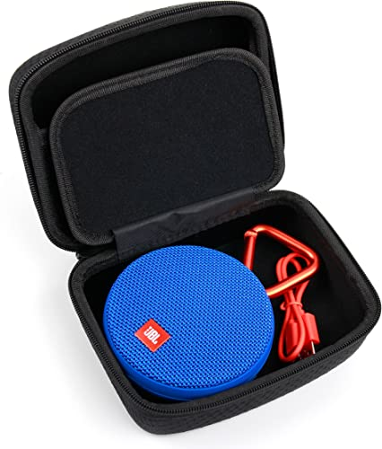 DURAGADGET Hard Black EVA Carry Case – Compatible with JBL GO 2 Clip Clip-Plus Portable Speakers