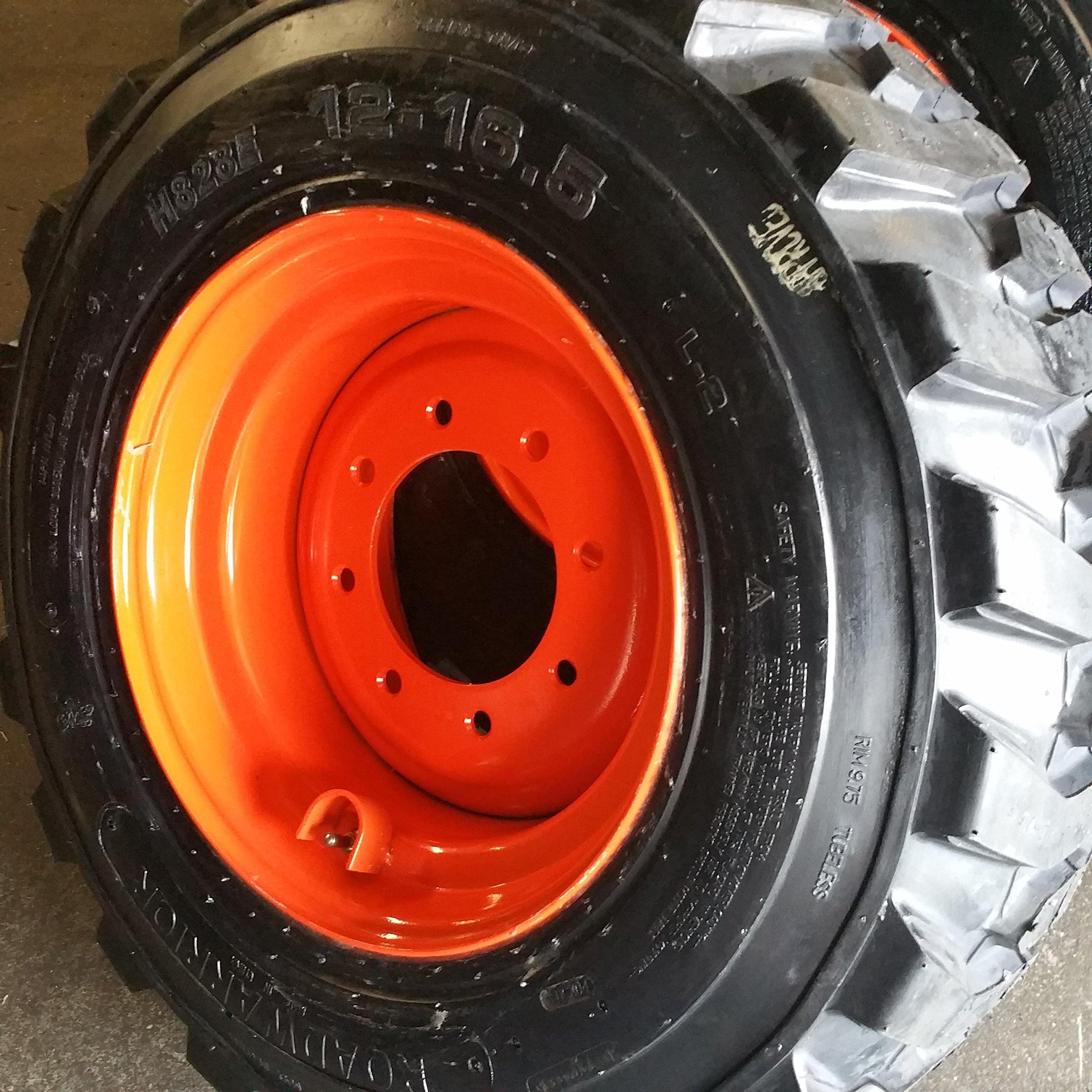 SET OF FOUR (4) 12-16.5 SKID STEER LOADER TIRE S with ORANGE Color Rims mounted, 14 PLY, NHS SKS 400-12x16.5