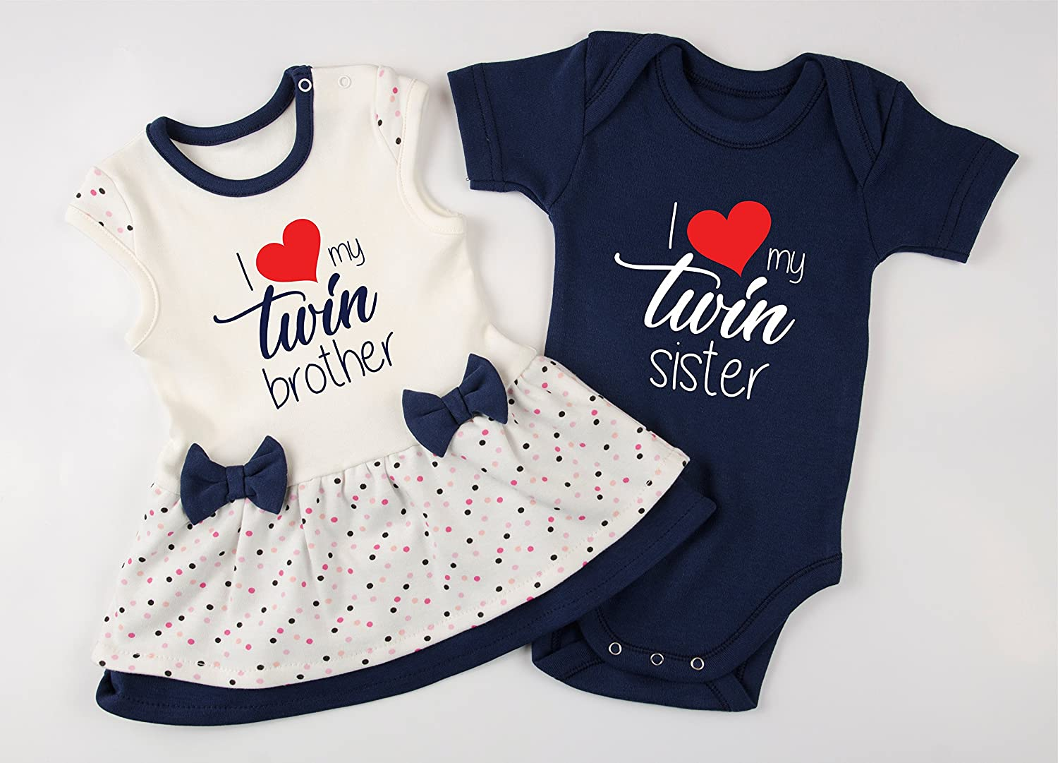 Twin Boy and Girl Outfits, I Love My Twin Brother/I Love My Twin Sister Baby Set, 0-3 Months