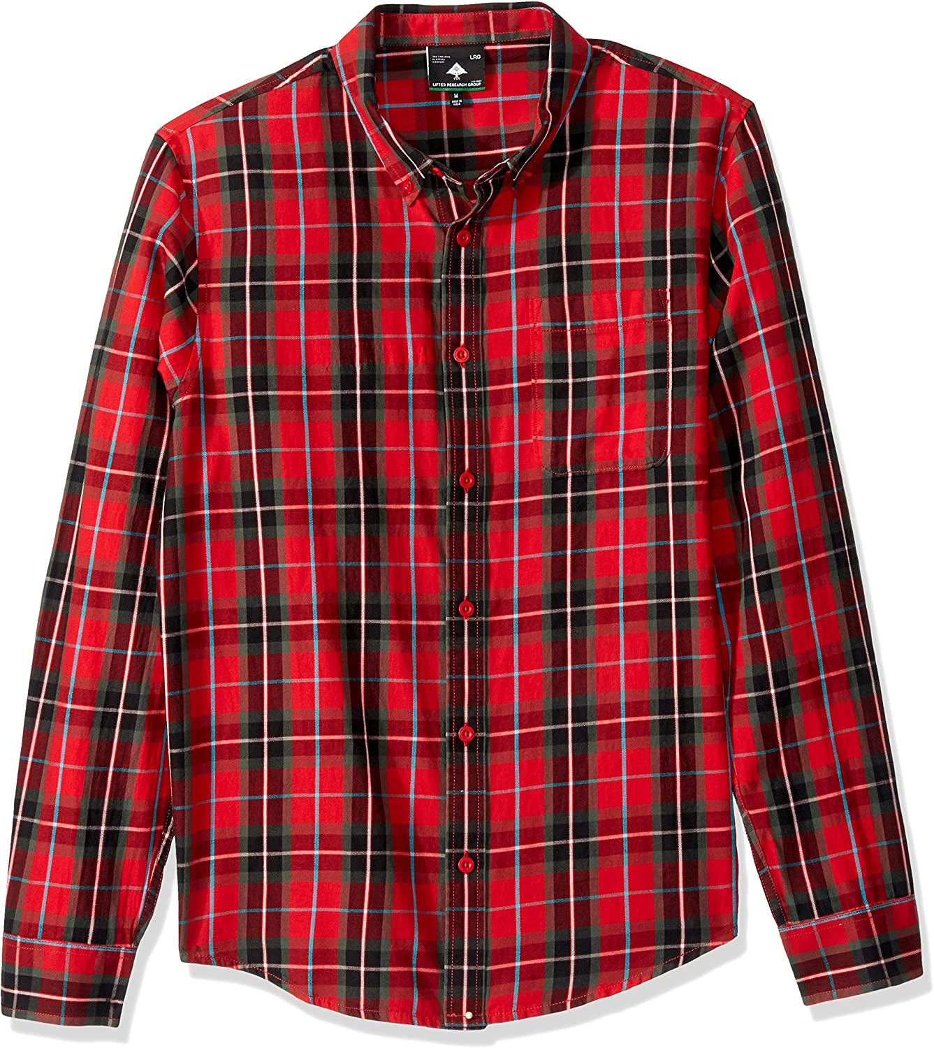 LRG Men's Lifted Research Group Long Sleeve Flannel Button Down Shirt: Clothing