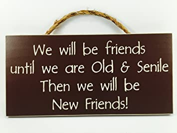 Home Decor Wood Signs with Quotes Inspirational & Sometimes Funny Sayings  Rustic Wood Signs- Hanging Signs (We Will Be Old Friends, 53-101-RD)