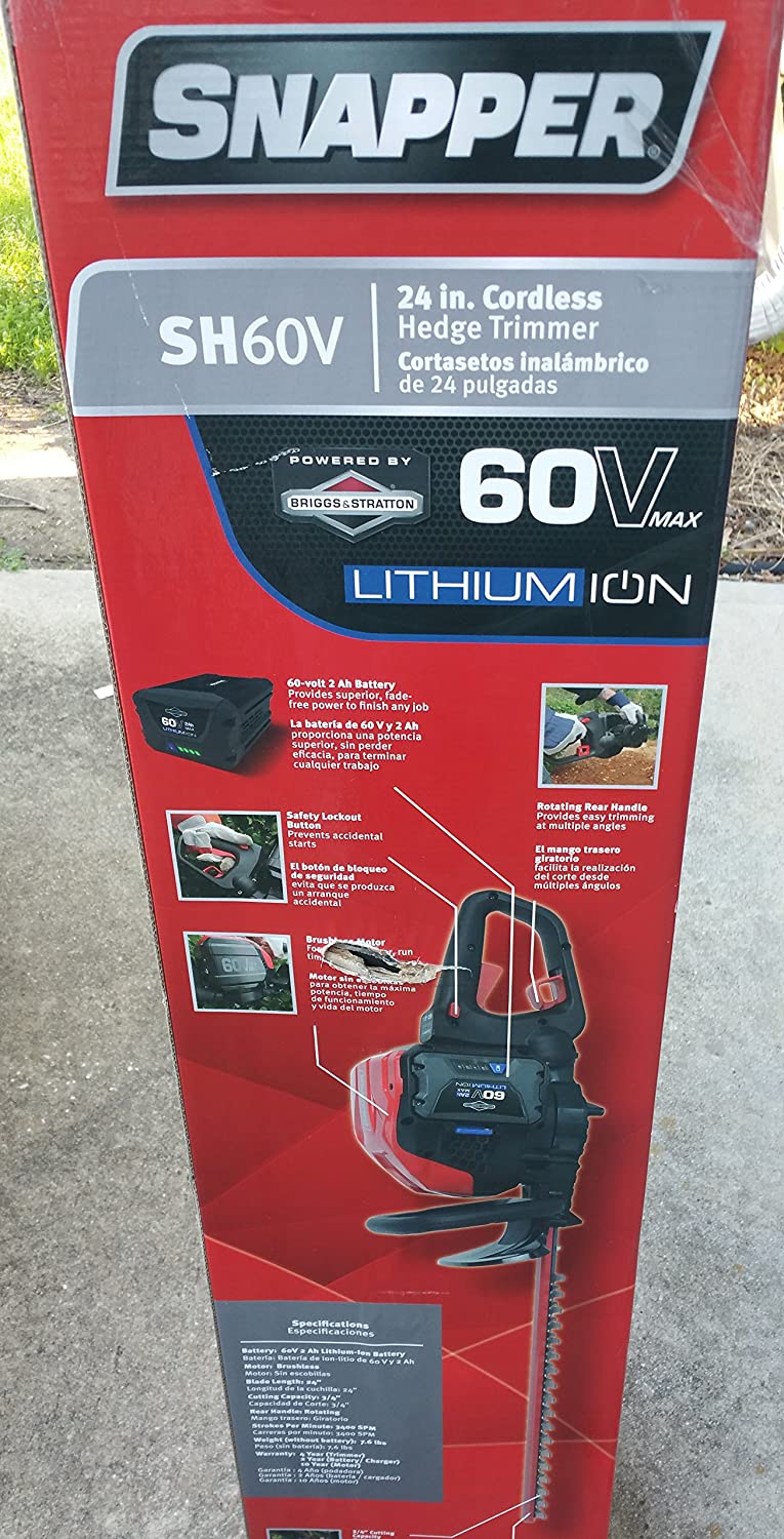 Snapper SH60V 60V Hedge Trimmer includes 2Ah Battery and Charger