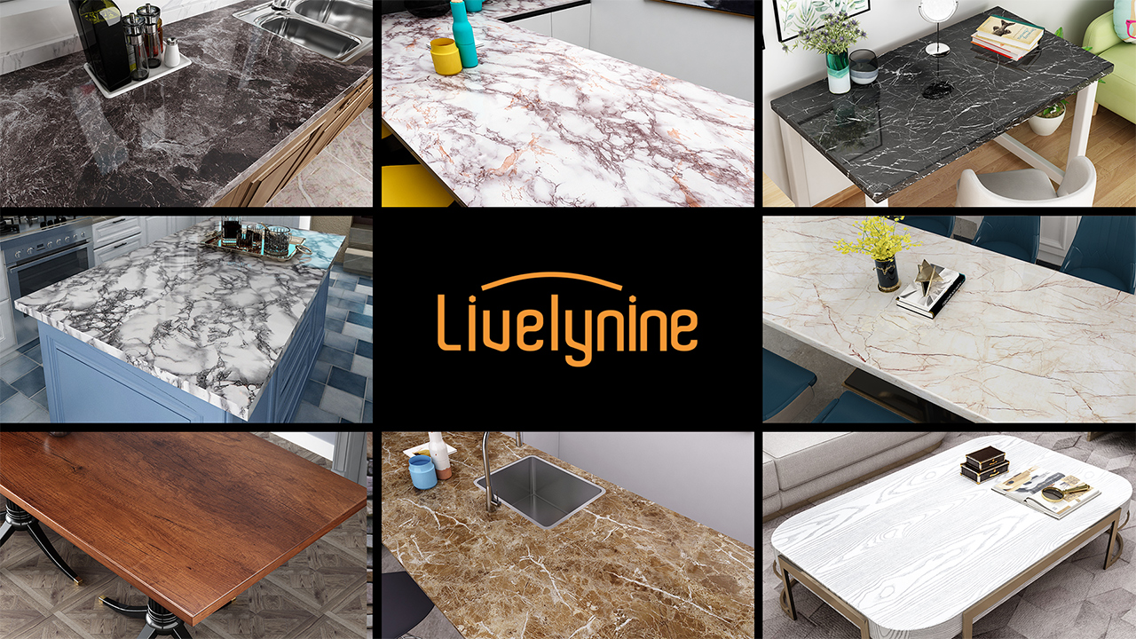 Livelynine Papel de pared de mármol para encimera de ...