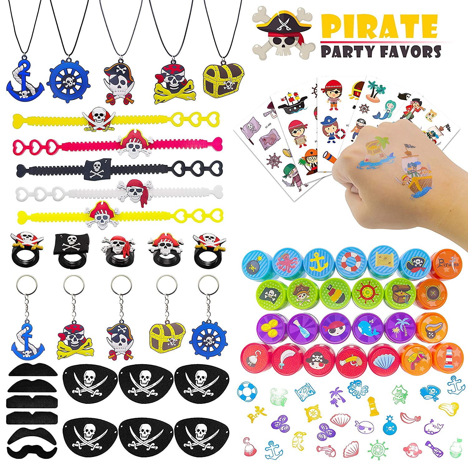 Bracelets,Necklace,Pirate Party Goodie Bag Fillers,Prizes Gift Carnivals For Kids Birthday Pirate Party Supplies Kit,Pirate Temporary Tattoos,Stamper,Rings