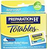 Preparation H Flushable Medicated Hemorrhoid Wipes;  Irritation Relief Wipes To Go with Aloe (10 Count) (Pack of 2)