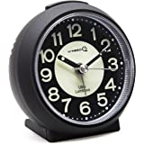 U-needQ Matte Colorful Non Ticking Analog Quartz Alarm Clock with Luminous Clock Dial, 5 Minutes Snooze, Light Night - Small Size, Light Weight, Easy to Use, Perfect for Travel and Kids (Black)