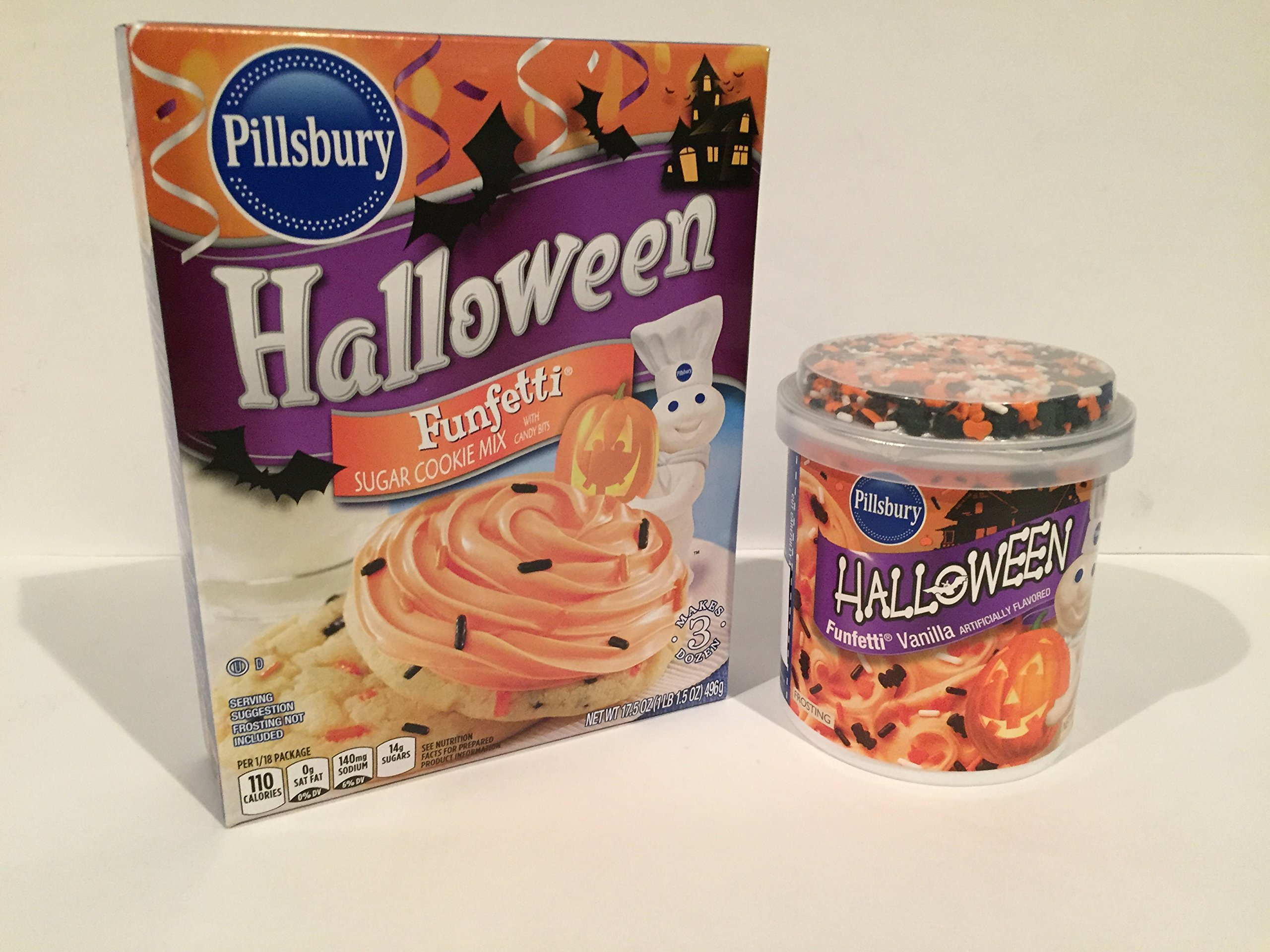 Pillsbury Halloween Funfetti Sugar Cookie Mix with Candy Bits, 17.5 oz AND Halloween Funfetti Frosting Vanilla w/Sprinkles by Pillsbury