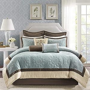 "Madison Park Cozy Comforter Set Casual Modern Design All Season, Matching Bed Skirt, Decorative Pillows, King(104""x92""), Blue, 9 Piece"