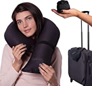 CANDY CANE Inflatable Travel Pillow for Airplane, Ultra Compact Neck Pillow