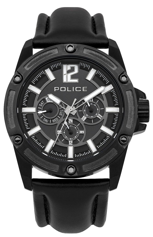 Police PL.93778AEU/02 - Reloj de cuarzo para hombres con esfera negra y correa negra de cuero