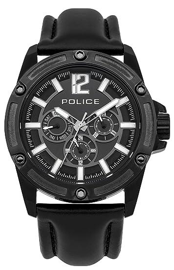Police PL.93778AEU/02 - Reloj de cuarzo para hombres con esfera negra y correa negra de cuero: Amazon.es: Relojes