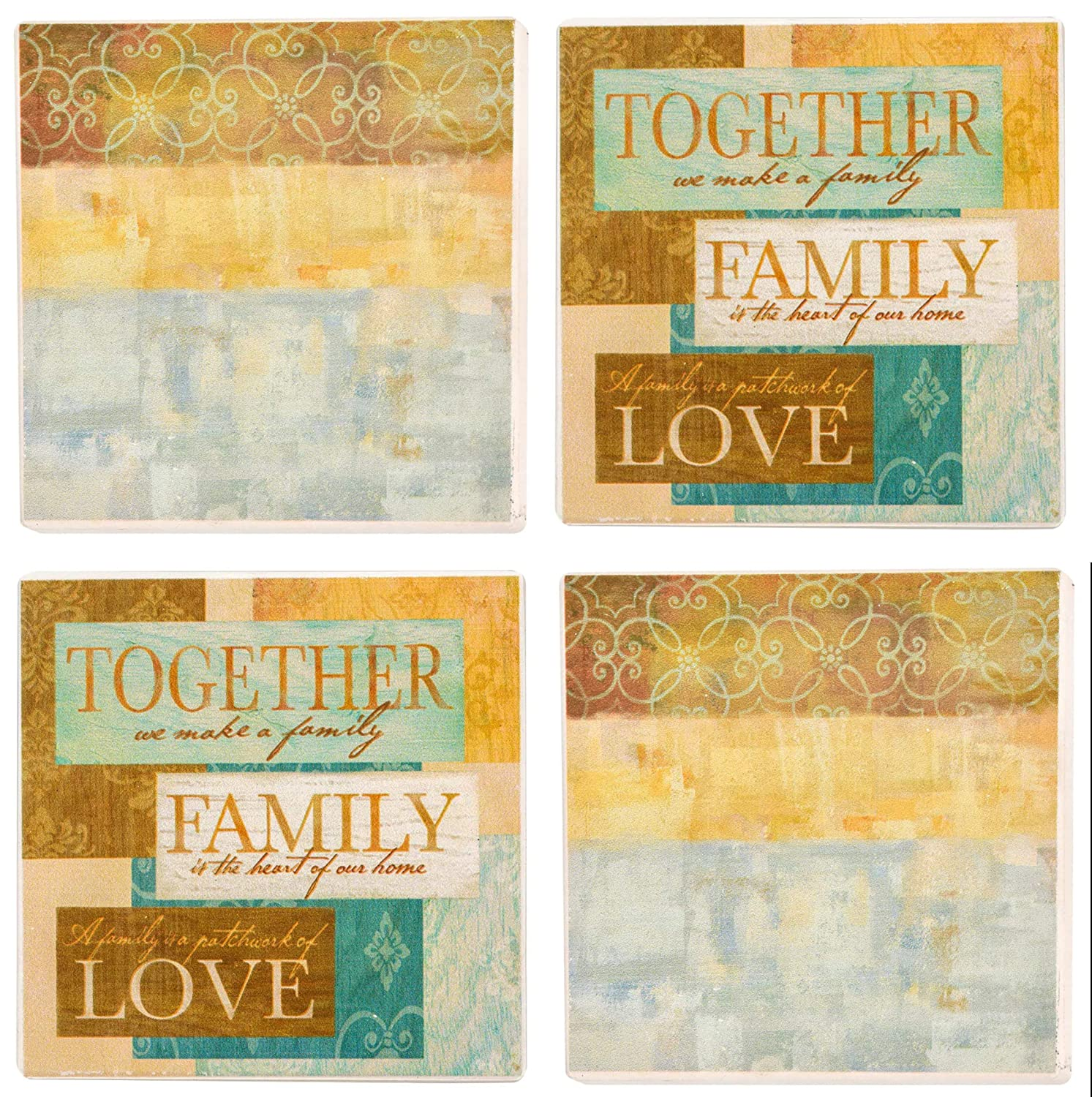 Abstract Family Farmhouse Ceramic Coasters Set of 4 In Gift Box