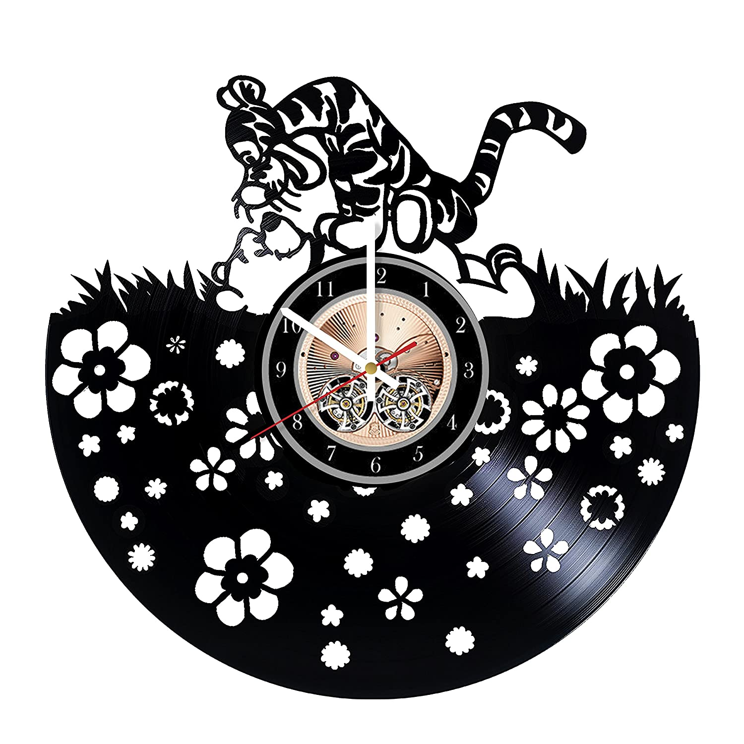 Tigger and Winnie the Pooh HANDMADE Vinyl Record Wall Clock - Get unique bedroom or living room wall decor - Gift ideas for him and her