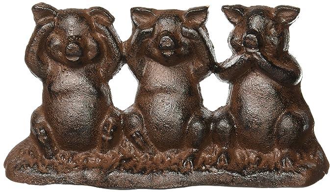 Hear No Evil, See No Evil, Speak No Evil Cast Iron Pigs Door Stop