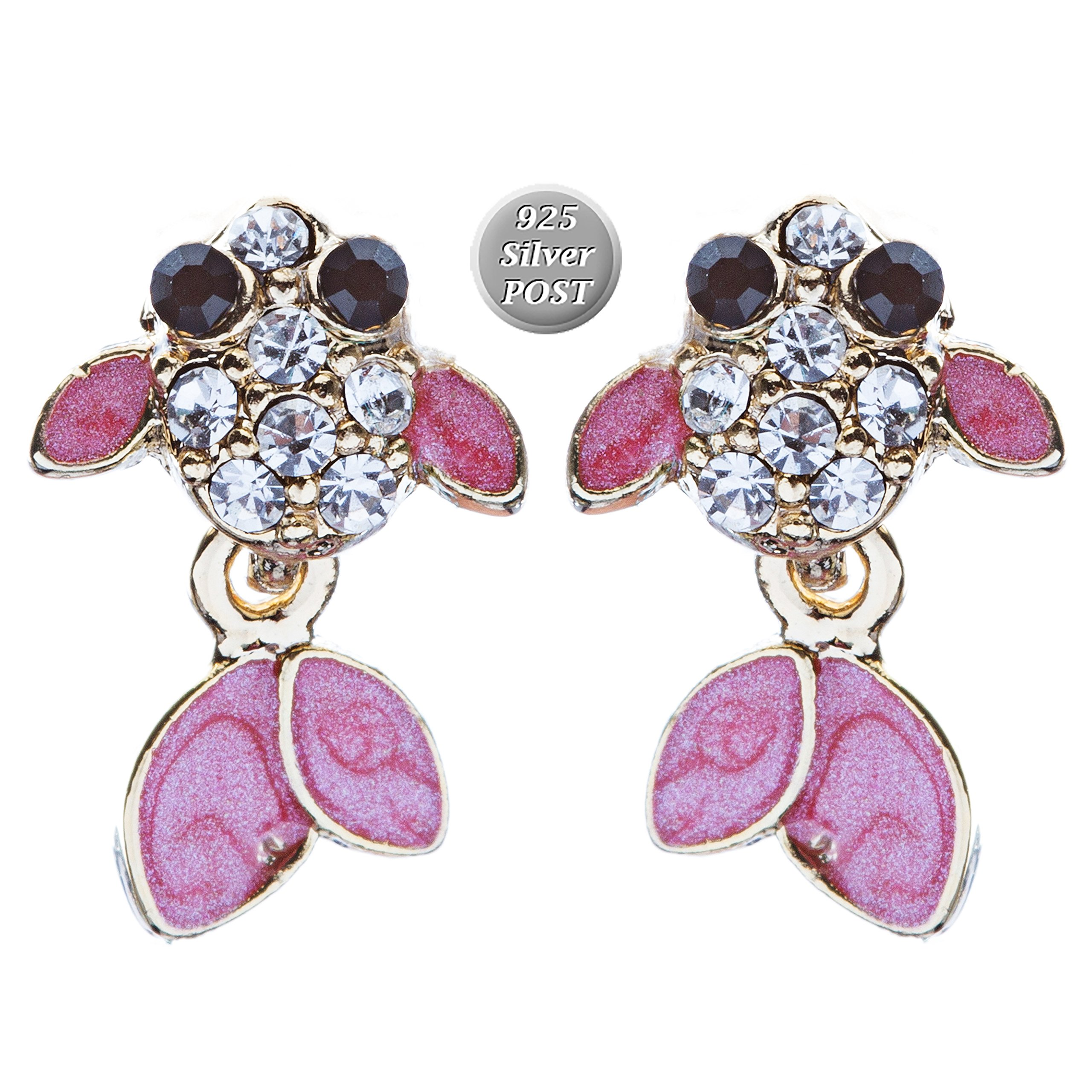 ACCESSORIESFOREVER Adorable Crystal Accent Fish Tiny Stud Style Fashion Earrings E504 Gold Pink