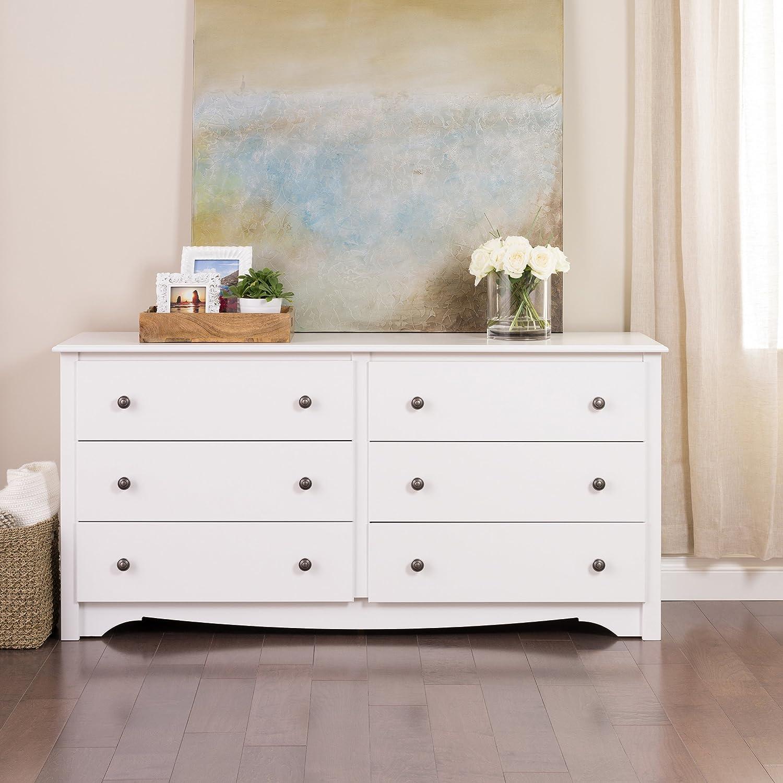 Amazon com premium traditional modern dresser six drawer chest for bedroom divider furniture home storage closet white kitchen dining