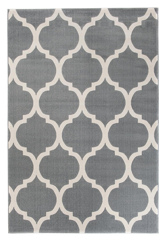 Carpeto Modern Teppich Grau 200 x 290 cm Marokkanisches Muster Canvas Kollektion