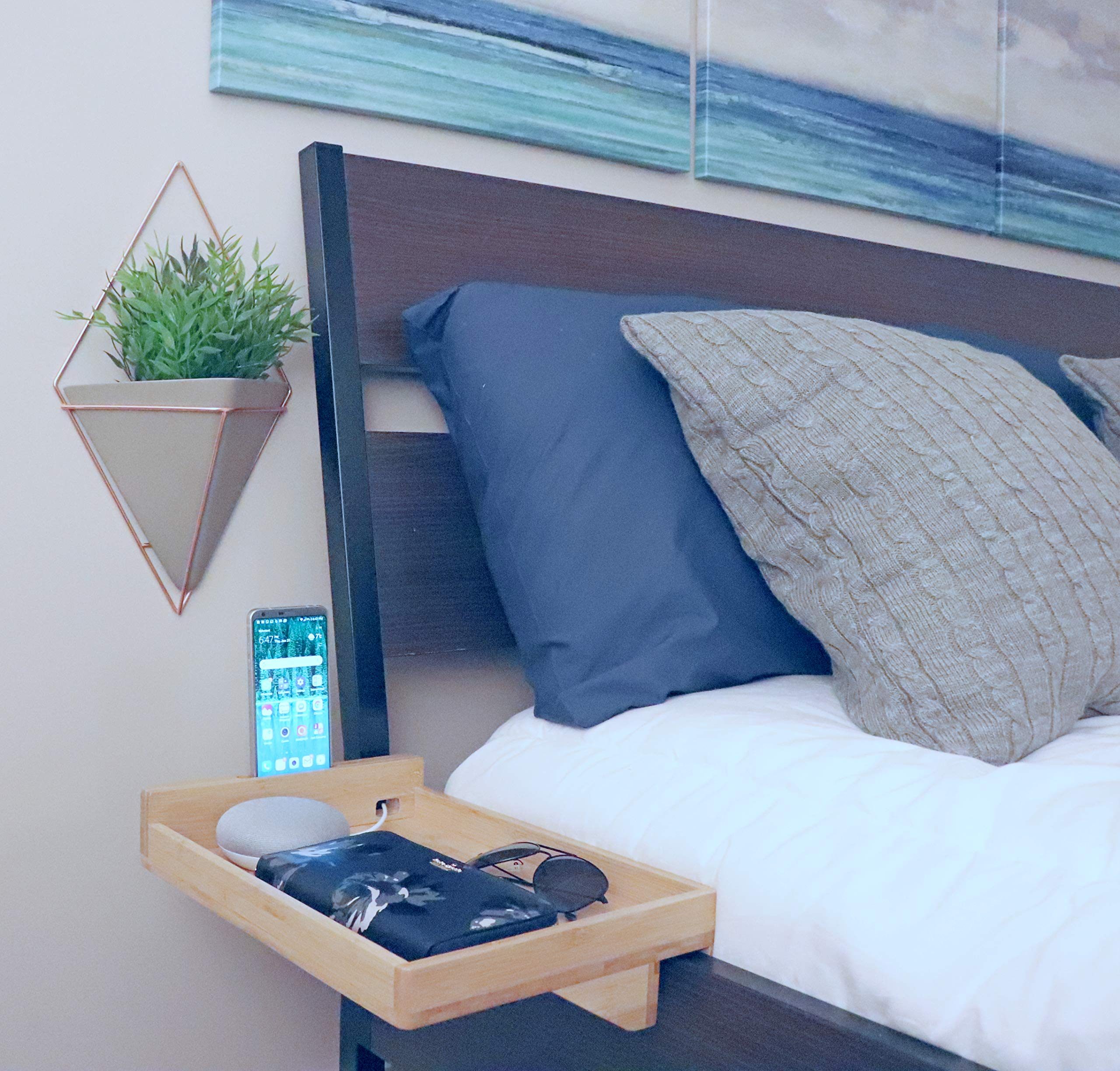 Ovivo Designs Floating Night Stand | Bamboo Bedside Shelf, Caddy | Modern Organizer with Built-in Cell Phone Holder and USB Cable Slot (Regular Size - Left Side, Bamboo)