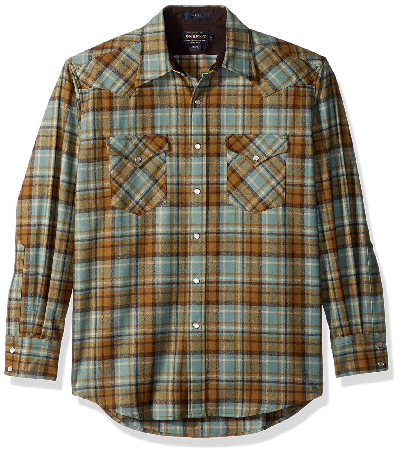 Pendleton メンズ長袖キャニオンシャツ B06XPRMYMB L|Mint/Bronze Plaid Mint/Bronze Plaid L