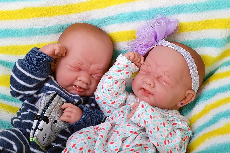 24 inch Boy and Girl Reborn Toddler Dolls Twins Newborn Lifelike Soft Vinyl Doll