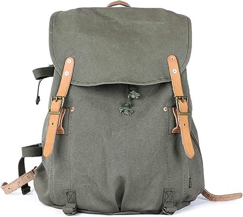 Gootium Canvas Backpack – Vintage Military Rucksack Travel Dayack, Green