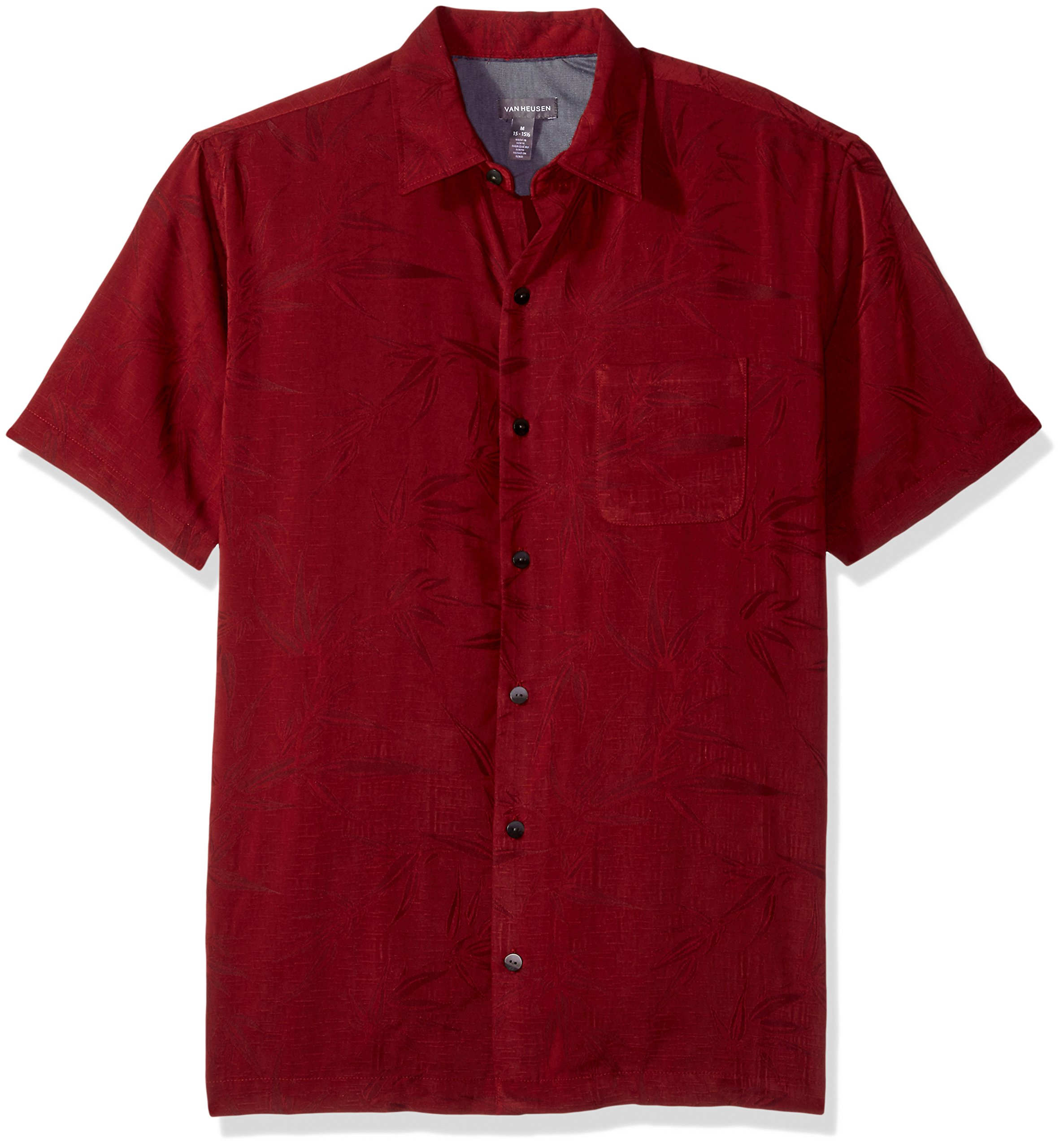 725b9e09 Van Heusen Men's Air Tropical Short Sleeve Button Down Poly Rayon Shirt,  Print Canernet,