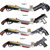 Vibgyor Vibes Combo Pack of Small Size Replica Double Barrel Shot Gun and Collectible Toy Guns with Rubber Bullet, Multi Color