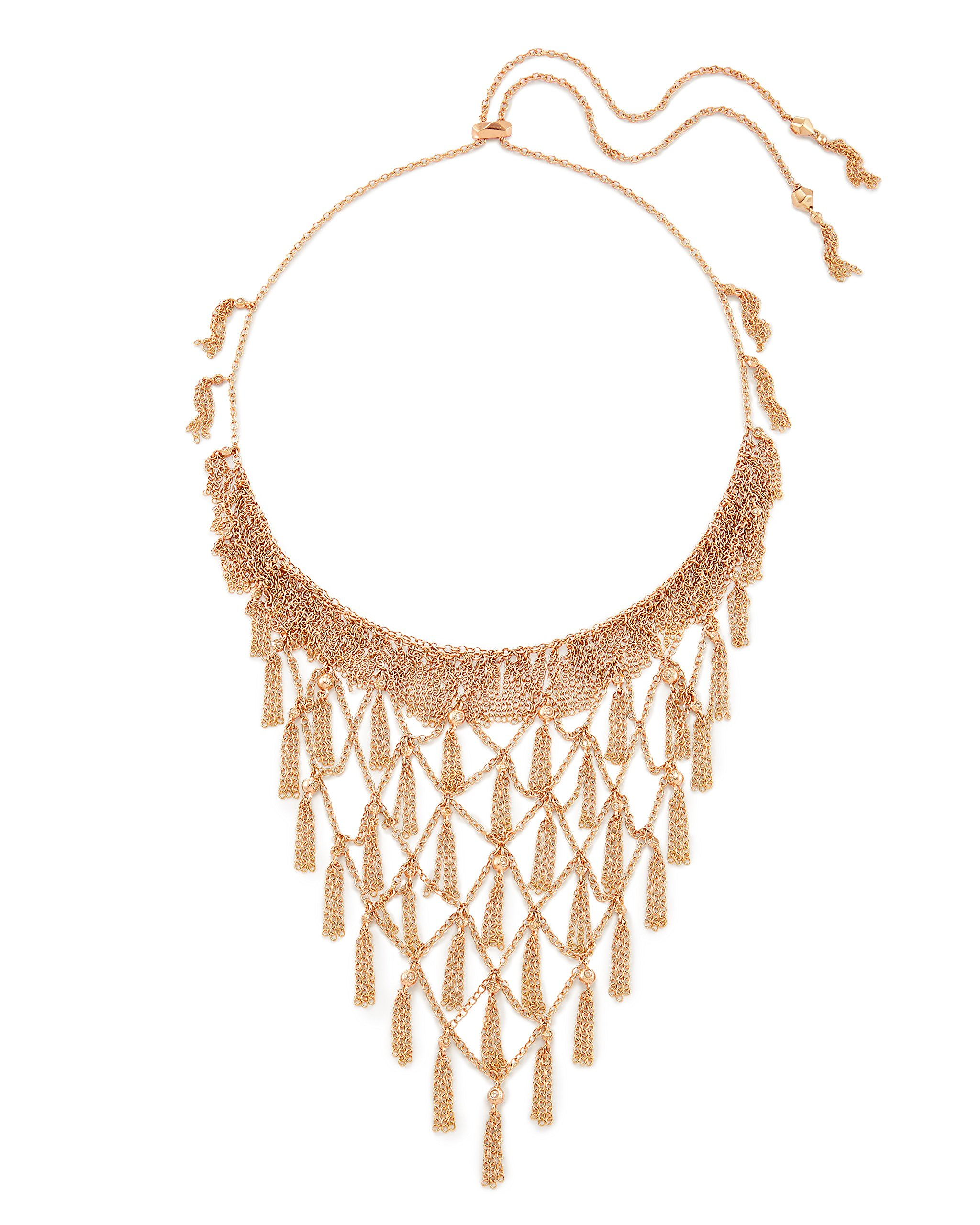 Kendra Scott Georgina Necklace in Rose Gold Plated and Cubic Zirconia