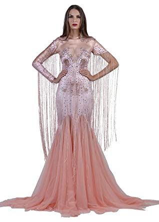 Charismatico Pastel Pink Pageant Diva Gown Bodysuit With Arm Tassels