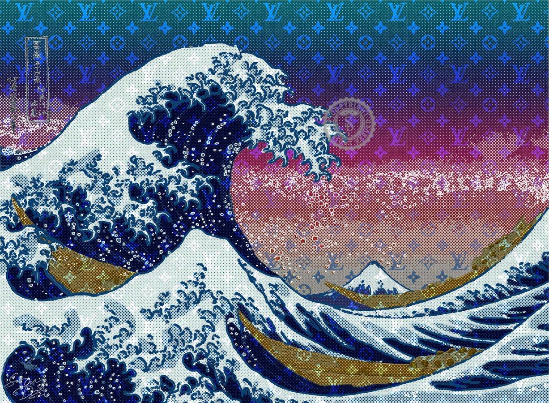 STAR DESIGN #sh16 HOKUSAI 葛飾北斎 The Great Wave 神奈川沖浪裏 ルイヴィトン 海 波 浮世絵 Louis Vuitton オマージュアートポスター A1サイズ(594×841mm) B01LADMXNCA1(594×841mm)