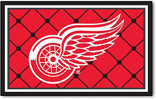 FANMATS NHL Detroit Red Wings Nylon Face 4X6 Plush Rug