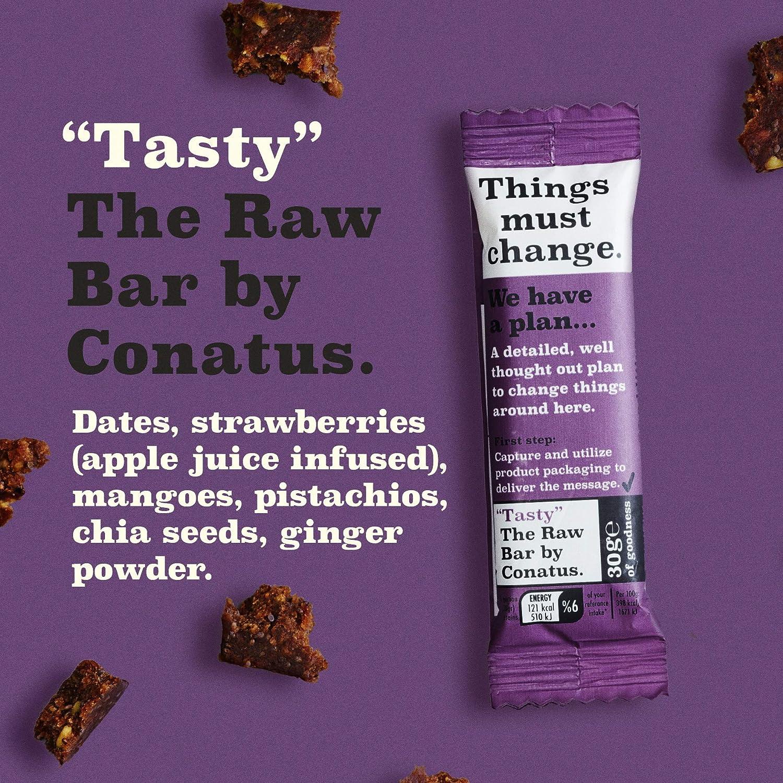 Tasty Raw Bar by Conatus - 15 pack (15 x 30g) - Barritas naturales con dátiles, mangos, PISTACHOS, semillas de chía, jengibre. Barras sin ...