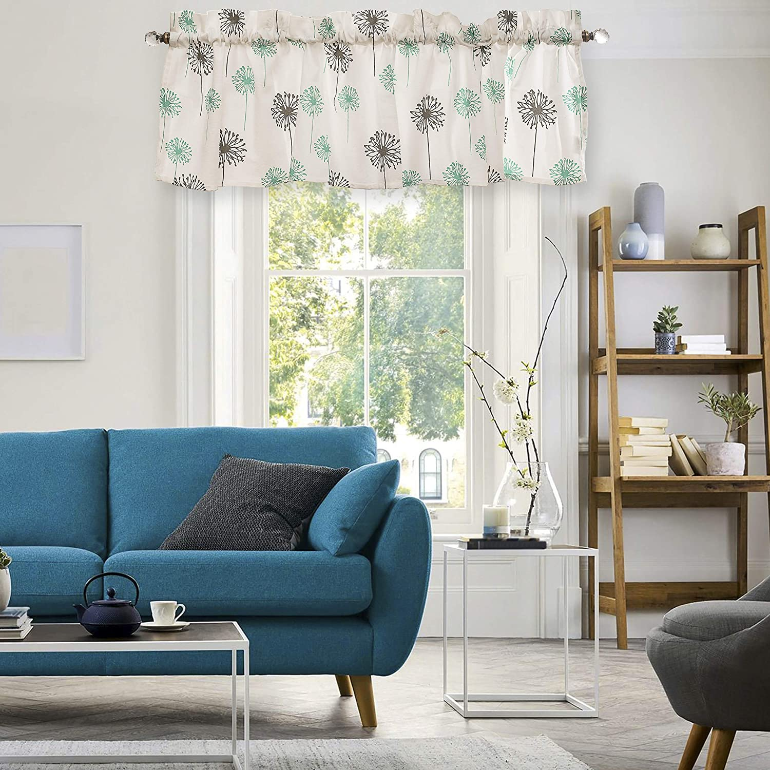 Crabtree Collection Gray Dandelion Curtain Valances for Windows (16x60)