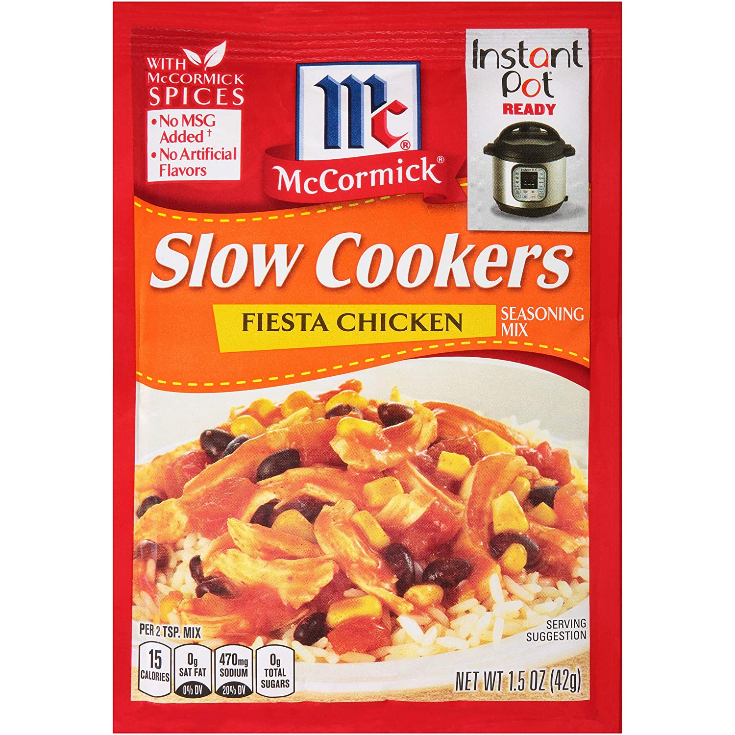 McCormickSlow Cookers Fiesta Chicken Seasoning Mix (Perfectly Seasoned Delicious Blend of Natural Southwest Spices Turns Just a Few Ingredients into a Slow-Cooked Feast!), 1.5 oz