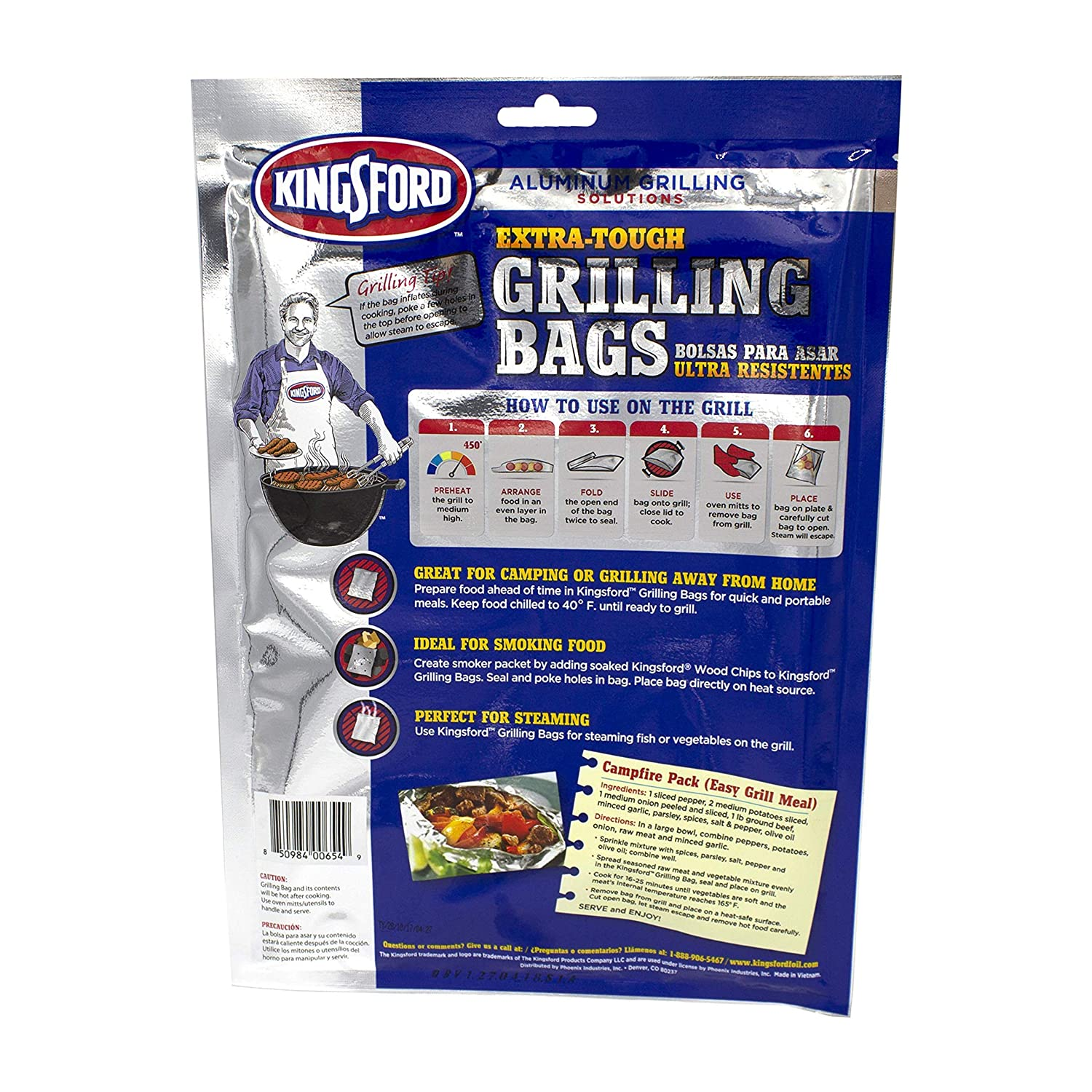 Pack of 4 Silver for Locking in Flavors /& Easy Grill Clean Up 15.5 x 10 New Version Extra Tough Aluminum Grill Bags Recyclable /& Disposable