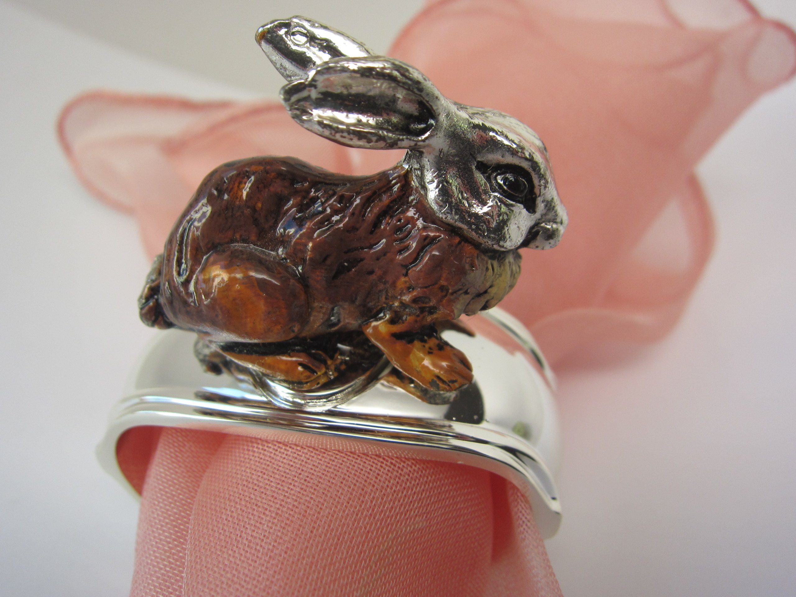 Hans Turnwald Set 4 Rabbit Bunny Signed Silverplate Figural Napkin Rings Easter Gift Box by Hans Turnwald (Image #1)