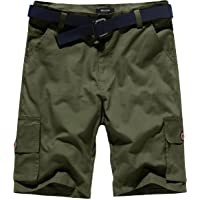 Wantdo Men's Summer Belted Relaxed Fit Cotton Twill Cargo Shorts