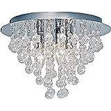 """Nino Leuchten 63040306 - Lampadario da soffitto """"London"""" a 3 punti luce, diametro: 38 cm, pendenti in vetro,sfere in acrilico  colore: Cromato"""