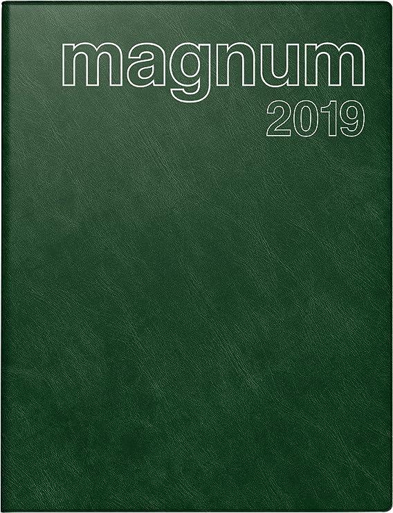 rido/idé 702704258 Buchkalender magnum, 2 Seiten = 1 Woche, 183 x 240 mm, Schaumfolien-Einband Catana dunkelgrün, Kalendarium 2019