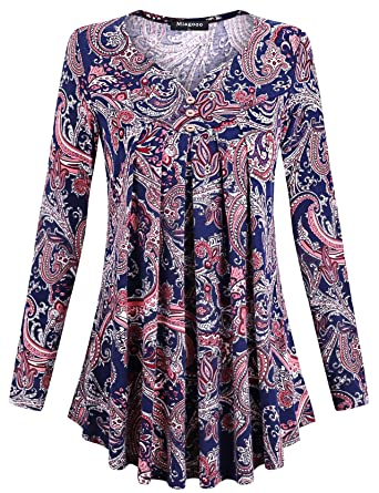 eadb40eacbf Miagooo Womens Scoop Neck Pleated Floral Print Short Sleeves Summer Tunic  at Amazon Women s Clothing store