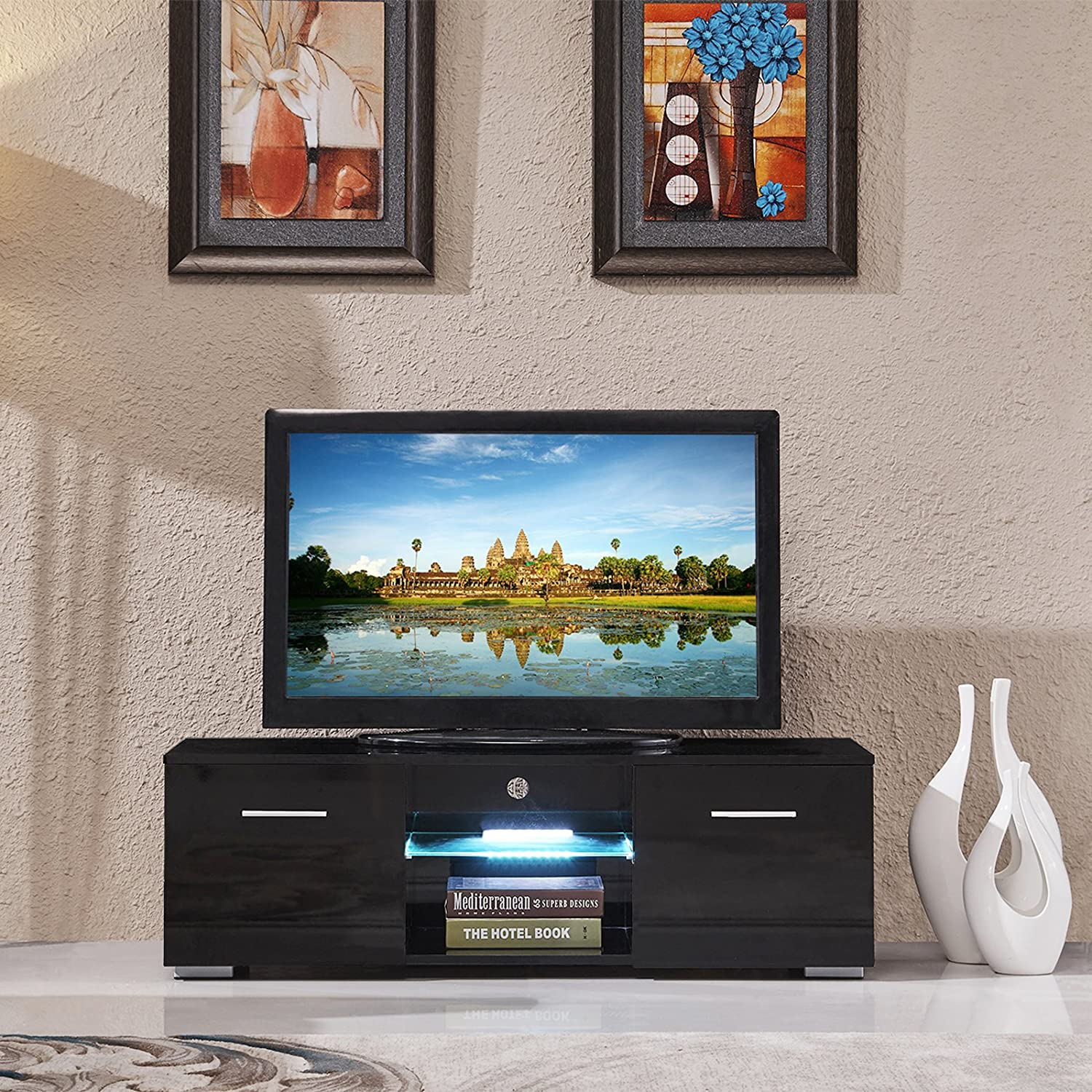 Amazon.com: SUNCOO TV Stand Media Console Cabinet LED Shelves With 2  Drawers For Living Room Storage High Gloss Black For Up To 47 Inch TV  Screens: Kitchen ...
