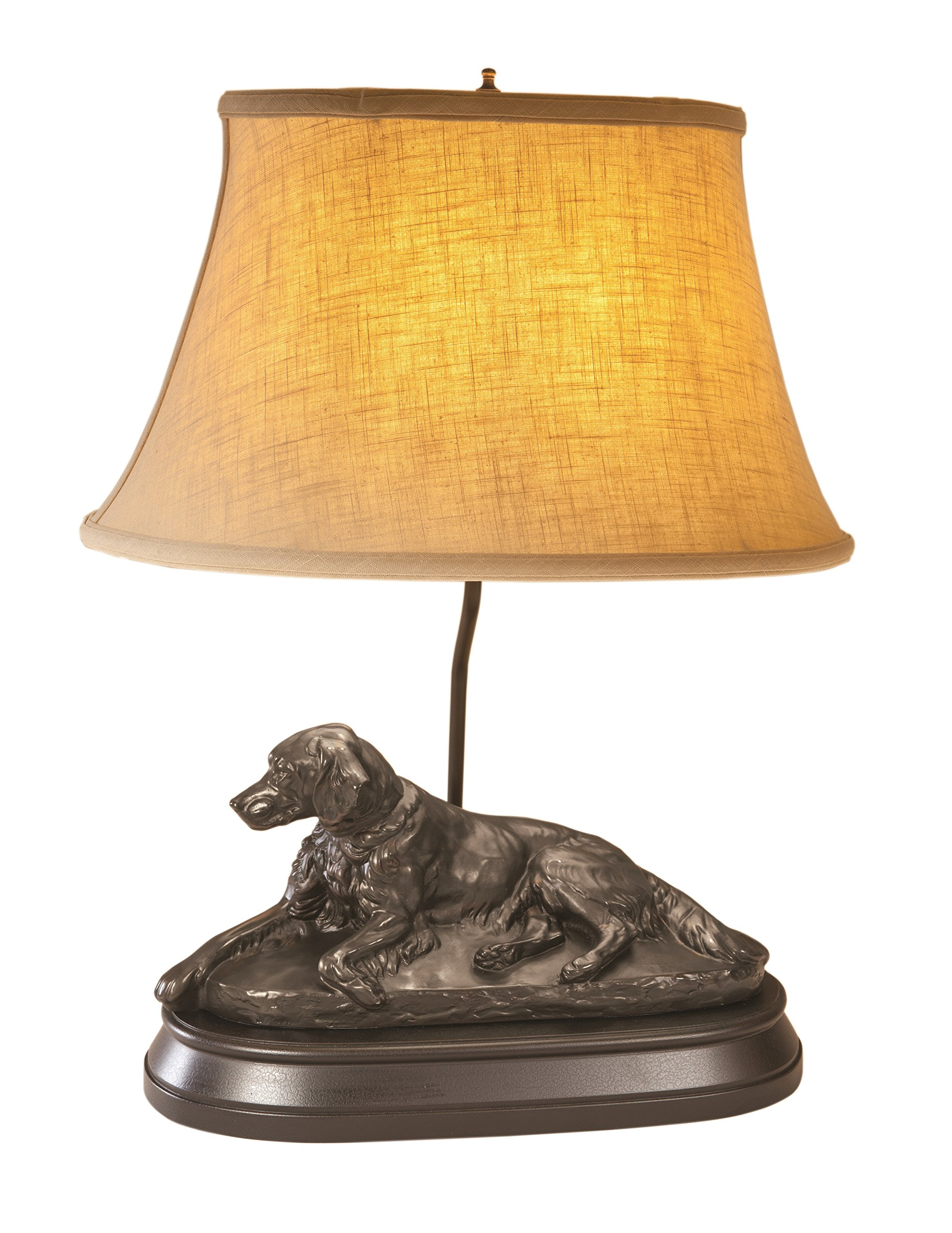 LodgeandCabins Resting Setter Dog Lamp, Bronze by LodgeandCabins