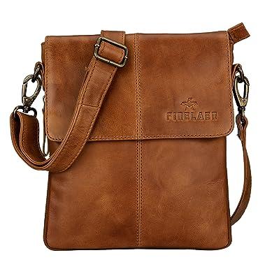85885ef6968b Image Unavailable. Image not available for. Color: Finelaer Men Vintage Brown  Leather Crossbody Shoulder Bag